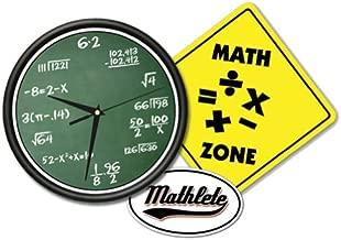 Math Class Wall Clock & Sign Gift Set Mathematics Math Decal Included