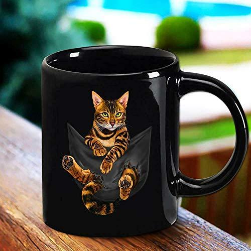 Funny Coffee Mug, Cat Bengal Inside Pocket Funny Cat Mug Black 11oz -15oz Coffee Tea Cup, Tea Mug, Coffee Cup, 11 Oz Coffee Mug Gifts For Women Men