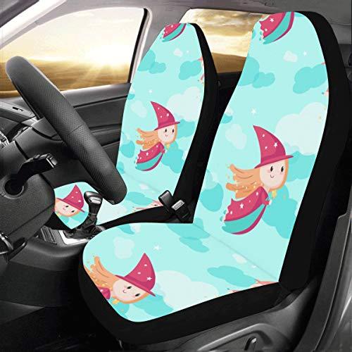 Plsdx Magic Wand Girl Fantasy New Universal Fit Auto Drive Fundas Asiento Coche Protector Mujeres Automóvil Jeep Truck SUV Vehículo Conjunto Completo Accesorios bebé Adulto (Juego 2 Delanteros)