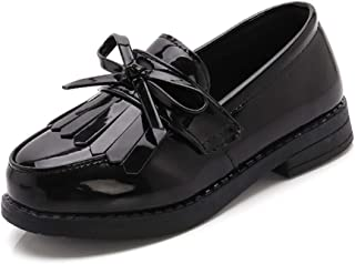 Sponsored Ad - BININBOX Toddler Little Kids Girls Patent Leather Slip On Penny Loafers Flats Tassel Bowknot Boat Casual Pr...
