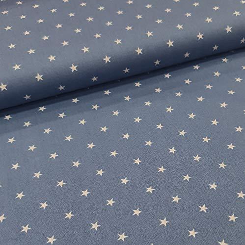Schickliesel Baumwollstoff Meterware Weiße Sterne (Jeansblau)