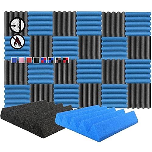 Arrowzoom 24 Paneles acustico absorcion sonido Cuna Wedge 25x25x5cm Espuma acustica aislamiento acustico estudio de grabacion Casas Estudios Azulejos Incombustibles Insonorizados Negro Acul