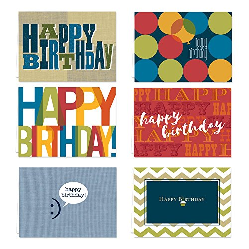 Snappy Birthday Note Card Assortment Pack - Set of 36 cards per package - 6 designs blank inside - with white envelopes