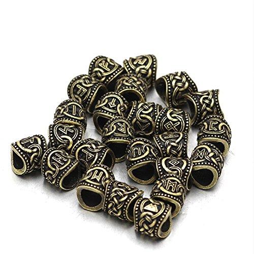 Qzy 24Pcs Argento Oro Rune Vichinghe Perline Per I Braccialetti Per Collana Pendente Barba O Capelli,Gold
