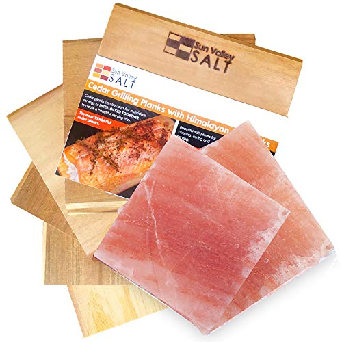 Superior Cedar Grilling Planks for Salmon with Himalayan Salt Bricks, Reusable, Smoky, Flavorful | Interlocking Planks | For Seafood, BBQ, Vegetables | 6 Pcs Cedar Planks, 2 Pcs Himalayan Salt Bricks