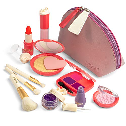 Litti Pritti Pretend Makeup for Girls - 11 Piece Play Makeup Set- Realistic Kids Makeup kit for Girl (Imitation - not Real)