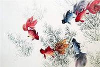 鯉の水墨画500ピースジグソーパズル 木製ジグソー脳チャレンジ