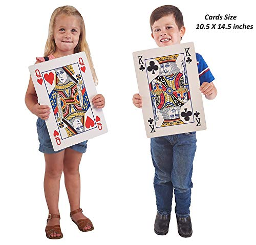 Jumbo Playing Cards Full Deck Huge Poker Index Playing Cards Fun for All Ages! - Size 10.5 x 14.5 inches