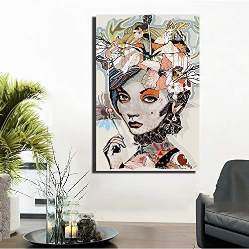 Frameless No Frame HD-Druck Pop Art Girl Wall Abstrakte Illustration Poster und Druckgrafik Modern Style Single Panel Frameless Wall ng 30x40cm