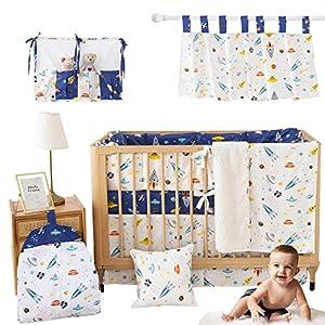 Brandream Baby Boys Crib Bedding Sets 100% Cotton Outer Space Nursery Bedding