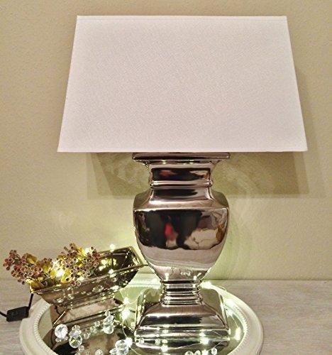 DRULINE 53 cm Silver Lady Tischlampe WEIß Silber Shabby Chic Tischleuchte Keramiklampe 8739S-39S