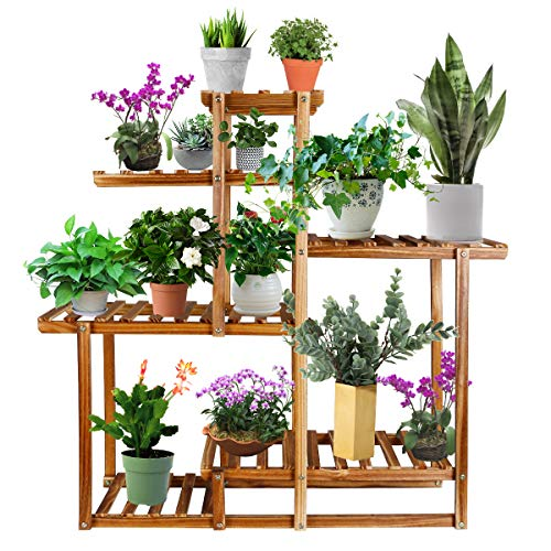 Tiered Wood Plant Stand, Astoryou 4-Layer 9 PottedFlower Stand Shelf Planter Display Shelving Rack Organizer Indoor Outdoor Flower Ladder for Patio Garden Balcony Yard Living Room (39.2x36x9.9in)