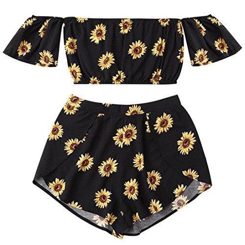 TUDUZ Shorts und Top Sets Damen Sommer Strand Zweiteiler Schulterfrei Sunflower Printed Beachwear Chiffon Crop Tops (Schwarz, S)