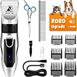 Upgraded pet clippers kit: dog clippers with 6 attachment guide combs, thinning-out, skin-friendly, contour guiding combs make home grooming safer and more comfortable. Full set of dog grooming kit would meet all of your needs Sharp and detachable bl...
