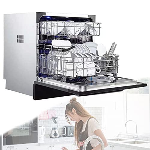 POEO Lavavajillas de Encastre, Lavaplatos Independientes pequeños para el hogar con 70 ℃ Limpieza de Alta Temperatura para Cocina, Apartamento