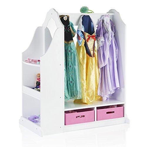 Guidecraft Dress up Vanity – White: Dresser, Armoire with Storage Bins and Mirror for Kids, Toddlers Playroom Organizer, Children Furniture