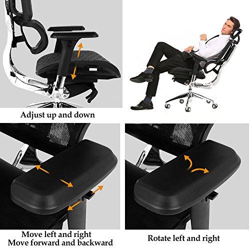 Modrine Ergonomische Bürostuhl Moderne Stuhl Computerstuhl Einstellbare Schreibtischstuhl (Schwarz_2)