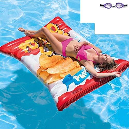 Aufblasbare Luftmatratze Matratze Badematratze Schwimmmatratze Tüte Potato Chips Luftmatratzen Motiv für Wasserspielzeug, Strand, Kinder, Sonnen, Pool , Erwachsene Meer Deko