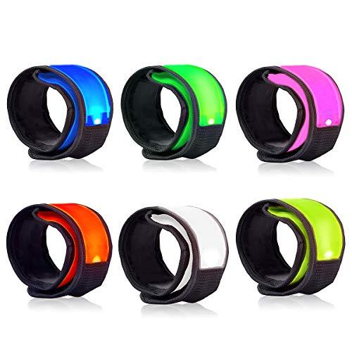 LOBKIN 6 Pack Safety Bracelets, LED Slap Armband Kids Walking at Night Safe LED Light Wrist Light Reflective Belt, Magic Band Running Lights for Runners (A)