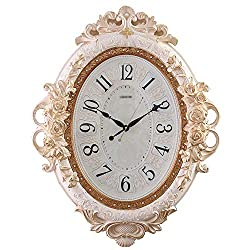 YONGMEI European Oval Wall Clock Silent Living Room Quartz Clock Creative Craft Clock Clock (Color : Beige, Size : 7055cm)
