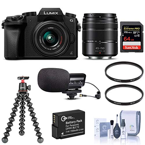 Panasonic Lumix DMC-G7 Mirrorless Camera with Lumix G Vario 14-42mm and 45-150mm Lenses Lens, Black - Bundle with 64GB SDXC Card, Joby GorillaPod 3K Kit, Stereo Condenser Mic, Spare Battery, More