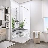 Schulte Deco-Design Foto Zen Steine + Gras über Eck, 210 x 90 x 90 cm, 3 mm Aluminium-Verbundplatte, Wandverkleidung als fugenfreier Fliesenersatz