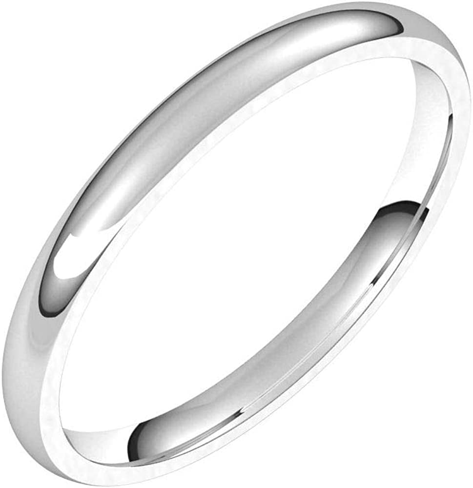 Solid Palladium 2mm Comfort Fit Wedding Band Ring Classic Plain Traditional - Size 10.5