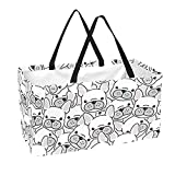Reusable Grocery Bag Large 50L Storage Bins Basket Shopping Tote Bags French Bulldog Puppy Face Dog Head Pattern