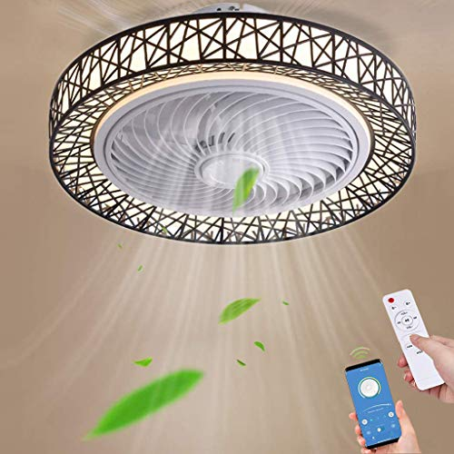 Ventilador De Techo Con Iluminación LED Moderno 72W Luz De Techo Regulable Control Remoto/APP Ventilador Lámpara De Techo Sala De Estar Dormitorio Habitación Infantil Oficina Fan Iluminación (Black)