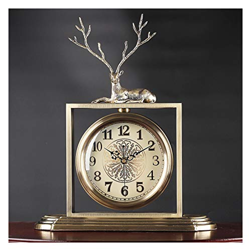 jinyi2016SHOP Table Clock Metal Fawn Desk Clock American Living Room Decoration Ornaments Small Table Clock Modern Minimalist Book Counter Clock Mechanical Clock Desk Clock (Color : A)