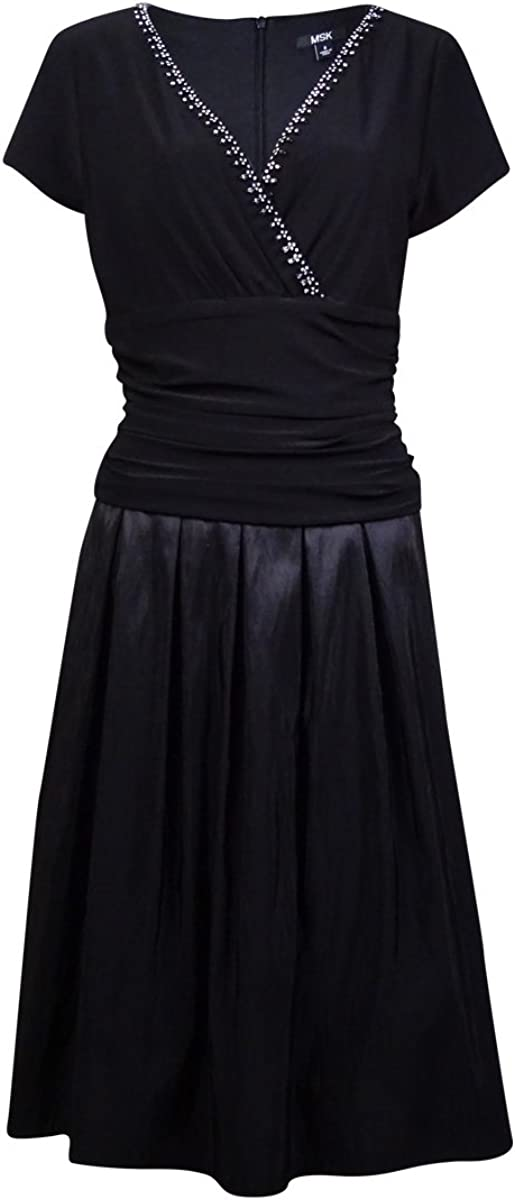 MSK Womens Embellished Cap Sleeves Party Dress