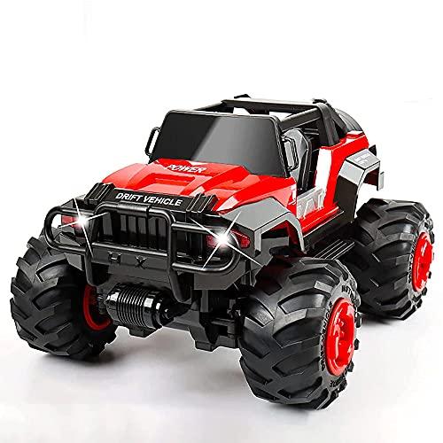 CHENBAI Camiones monstruo RC de alta velocidad, coche a control remoto, juguete eléctrico todoterreno LED de 2,4 GHz, camión monstruo todoterreno para niños y adultos, regalo del día de los niños, reg