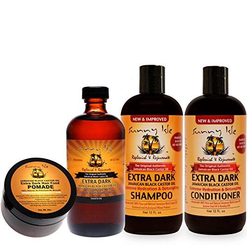 Sunny Isle NEW and IMPROVED EXTRA DARK Jamaican Black Castor Oil Hair Care Kit - 4 Piece