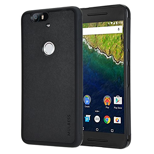 Mulbess Slim Phone Cover for Google Nexus 6P Case, TPU Silicone Shockproof Hybrid Rugged Leather Protective Back Cover for Google Nexus 6P, Textured Grip Black
