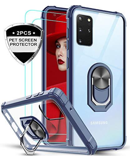 LeYi Funda Samsung Galaxy S20 Plus 5G / S20 Plus / S20+ con [2-Unidades] 3D Curvo Pet Pantalla,Transparente Carcasa con 360 Grados iman Soporte Silicona Bumper Armor Case para Movil S20+,Clear Azul