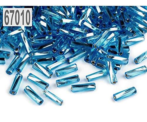 Pcs AB Art Hobby Glass Bugle Seed Beads circa 5-20mm x 2mm White//Pale Blue 2200