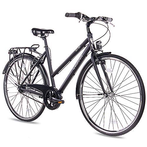 CHRISSON 28 Zoll Citybike Damen - City One schwarz matt 50 cm - Damenfahrrad mit 7 Gang Shimano Nexus Nabenschaltung - praktisches Cityfahrrad für Frauen