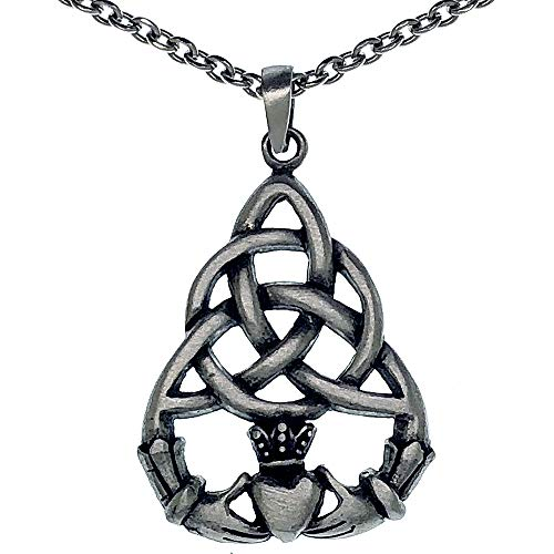 Irish Celtic Triquetra Claddagh Heart Pagan Silver Pewter Pendant Necklace Charm Amulet (Stainless steel chain)