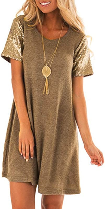 Alangbudu Women S Summer Sequin Short Sleeve Casual T Shirt Dresses Swing Dress Tank Vest Mini Dresses