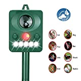 Solar Ultrasonic Animal Repeller Outdoor Waterproof Pet Repellent LED Flashing Light Motion Activated