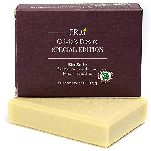 ERUi® Nachhaltige Bio Olivenölseife für Körper & Haare mit Bio Jojobaöl - Handgemachte reine Oliven-Seife - Natürliche Naturseife vegan, ohne Palmöl & Plastik (1 x 115g)