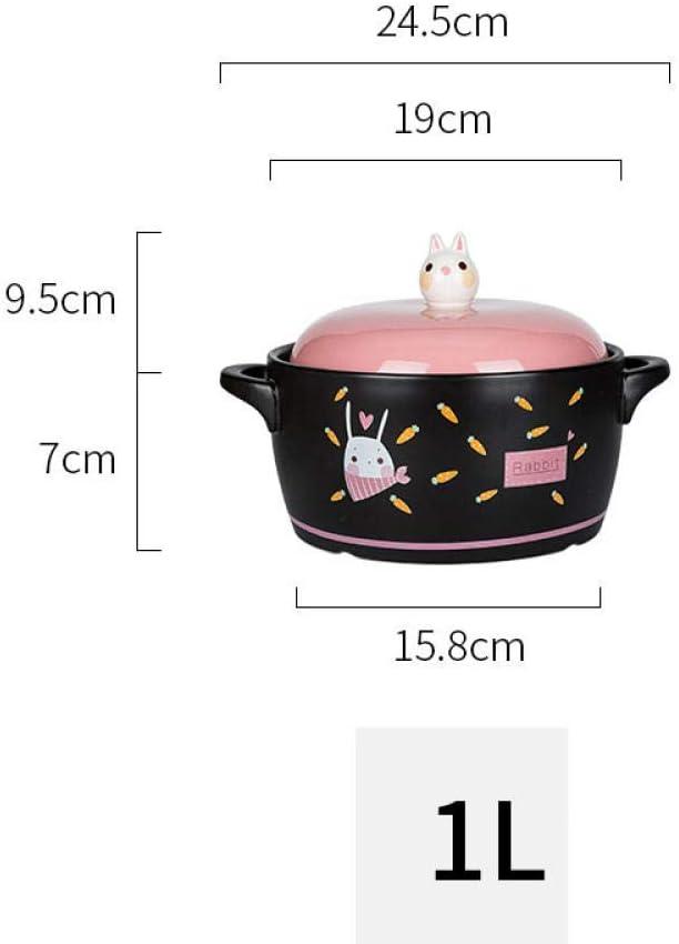 LIUSHI Casserole Casserole Plats avec Couvercle - Mignon Lapin Casserole Cuisinière À Gaz Dédié Pot À Soupe en Céramique Ménage Casserole À Gaz Petite Casserole-1L 1l
