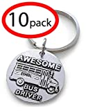 Disc charm keychain as an appreciation gift for a a school bus driver Great gift for you awesome bus driver Size: The disc charm is about 1 inches across. Metal: zinc alloy; Color: silver tone with black accents.