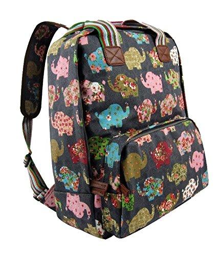 The Olive House Elephant Matte Oilcloth Rucksack Backpack Laptop Bag Grey