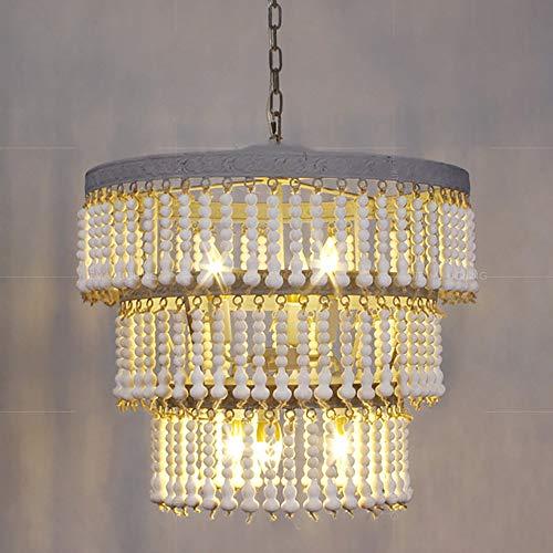 SELMAL parelplafondlamp 3-dier, hout, ronde kralen, kroonluchter, retro, antiek, huis, keuken, plafondlamp 6 lampen