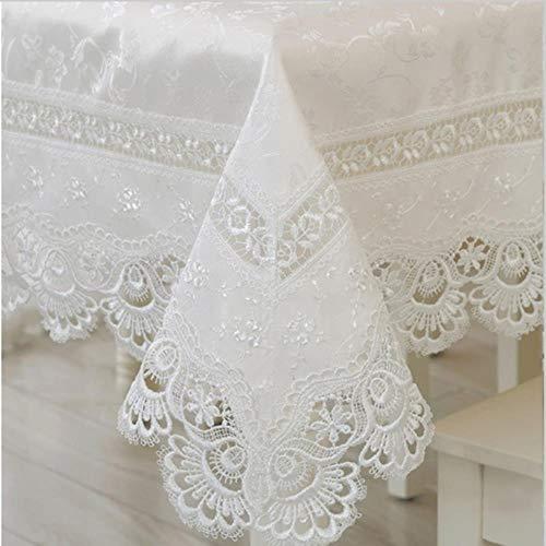 NIAN Mantel de Encaje Bordado Mantel de Lino Mantel de Encaje Blanco Mantel Mantel Redondo Mantel Toallas, 150x220cm