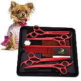 YXZQ Hundepflege Schere Professionelle Pet Hair Grooming Scissors Effilierschere & Straight-Edge-Schere-Scharfe und Starke Klinge aus rostfreiem Stahl Haustierpflege