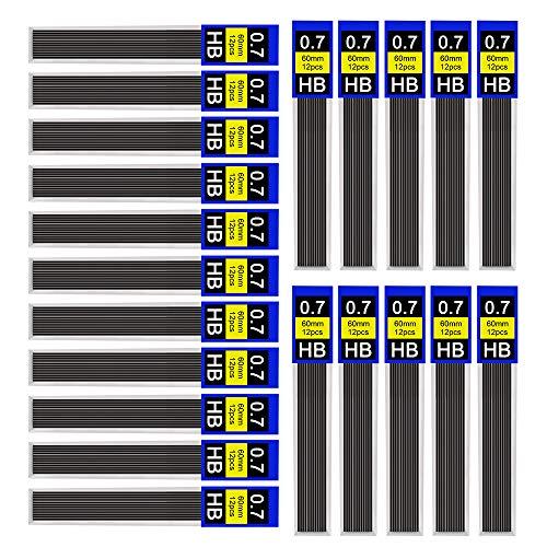 DECARETA Bleistiftminen, Hi-Polymer Feinminen aus Harz und Graphit, Druckbleistiftminen für Feinminenstift Automatische Bleistifte, 12 Minen X 30 Pack, HB, 0.7 mm
