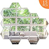 KimDaro Mirror Wall Stickers Non Glass Mirror Plastic Mirror 3D Hexagon Acrylic Mirror Wall Decor Self Adhesive Tiles (15PCS)
