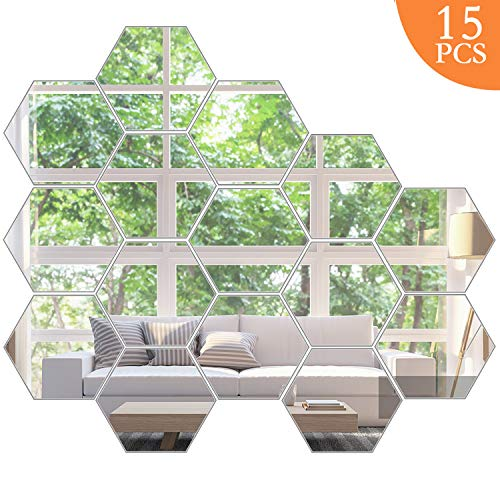 KimDaro Mirror Wall Stickers Non Glass Mirror Plastic Mirror 3D Hexagon Acrylic Mirror Wall Decor Self Adhesive Tiles (15PCS)